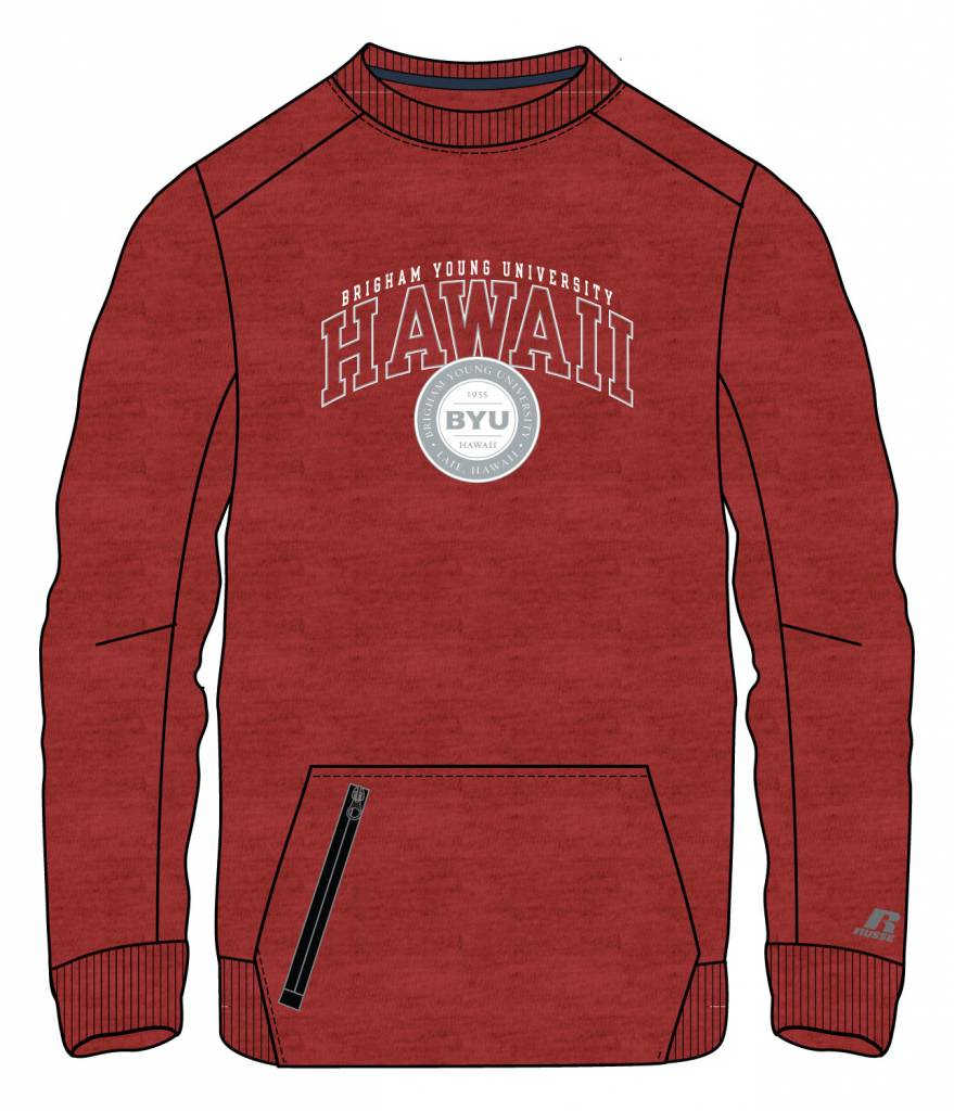 FA17 82CNSMO PI52 FLEECE CREW RED HEATHER