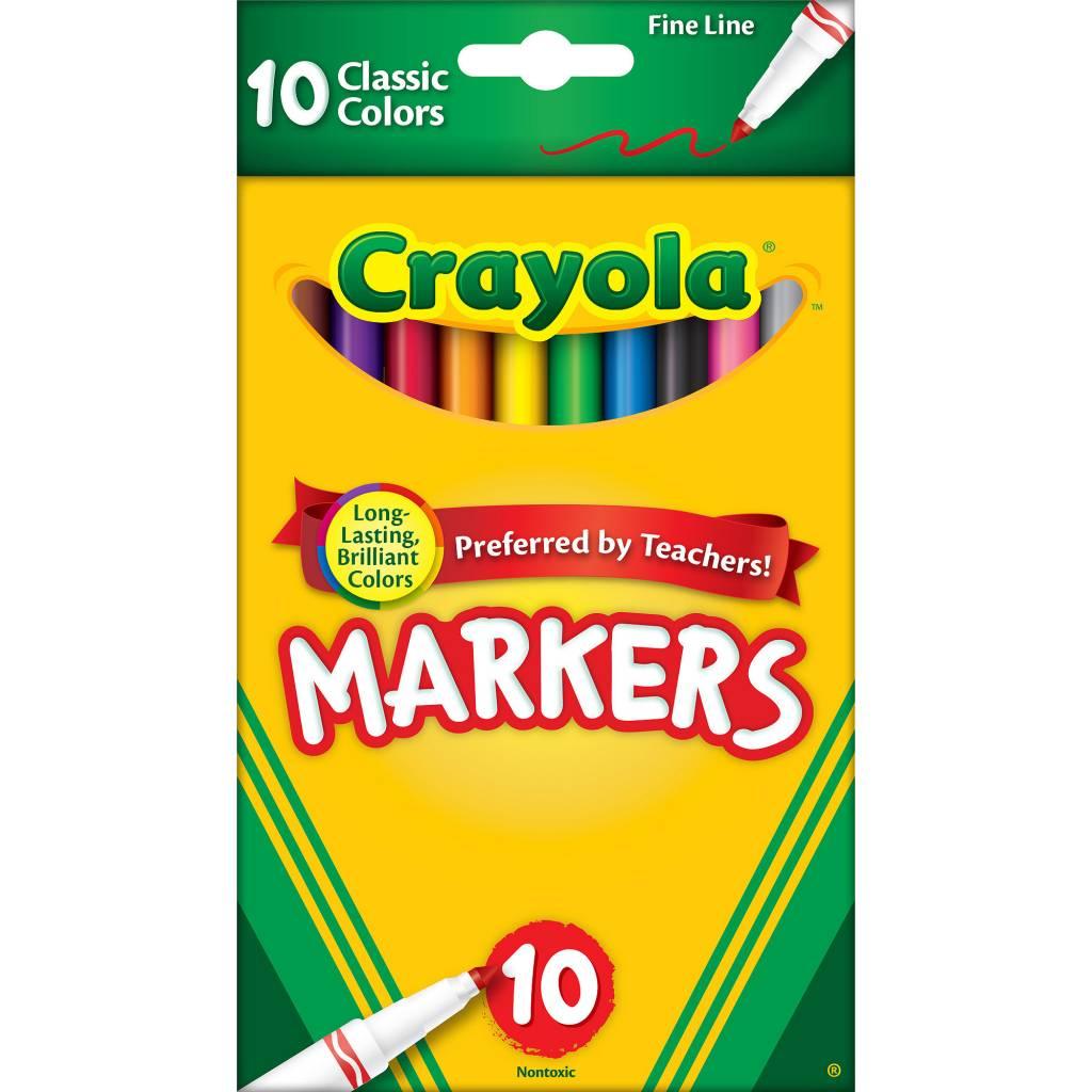 DISC 58-7726 CRAYOLA MARKERS 10CT FINE LINE