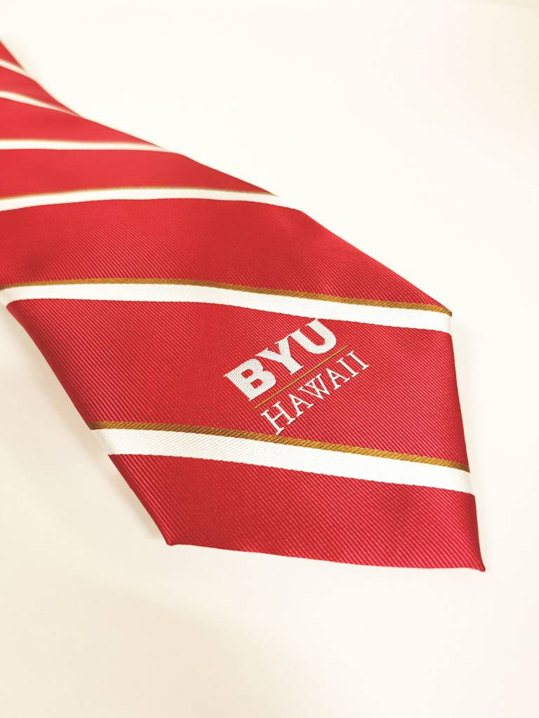 BYUH TIE RED WITH WHITE STRIPES