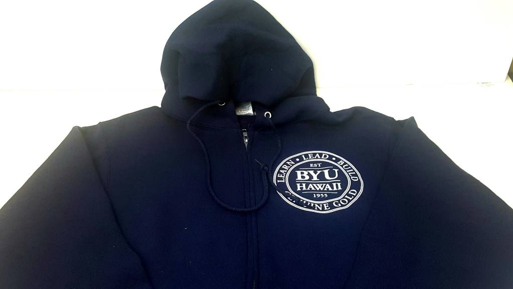 DISC MENS ZIP FRONT HOODIE WITH BYUH SEAL
