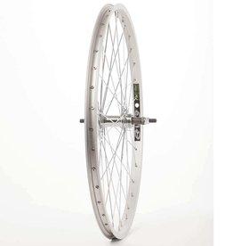 """Wheel Shop, Rear 24"""" Wheel, 36H Silver Alloy Single Wall Ev E Tur 20/ Silver Jytech JY-434 Nutted Axle FW Hub, Steel Spokes"""