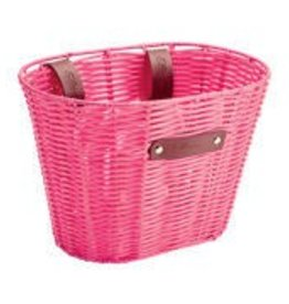 BASKET ELECTRA PLASTIC WOVEN SMALL PINK
