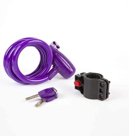 EVO, E-Force 12.4, Cable with key lock, 12mm x 120cm (12mm x 4'), Purple
