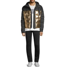 VERSACE JEANS QUILTED METALLIC PUFFER JACKET(E5GSB907)