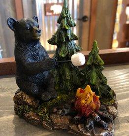 Slifka, Bear w Campfire and Pine Trees