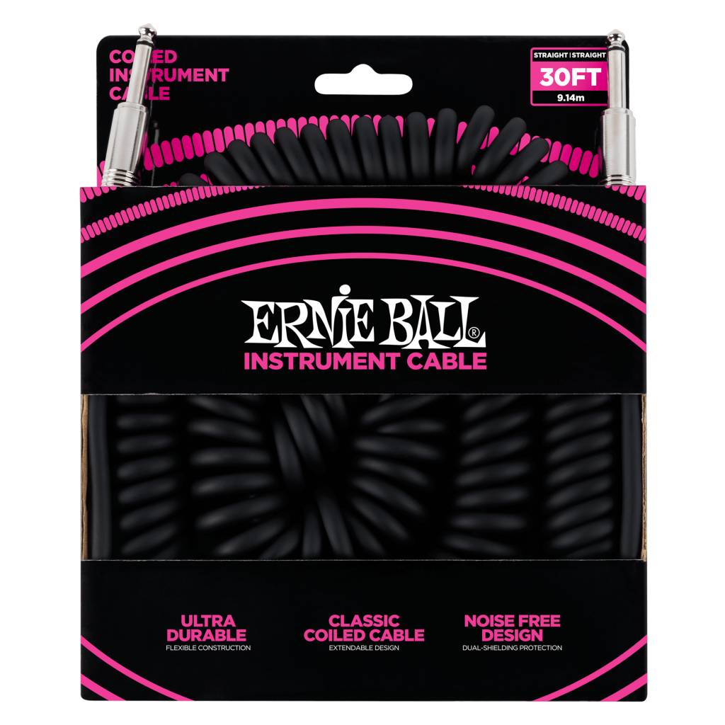 Ernie Ball Instrument Cable 30 ft Coiled Straight/ Straight-1