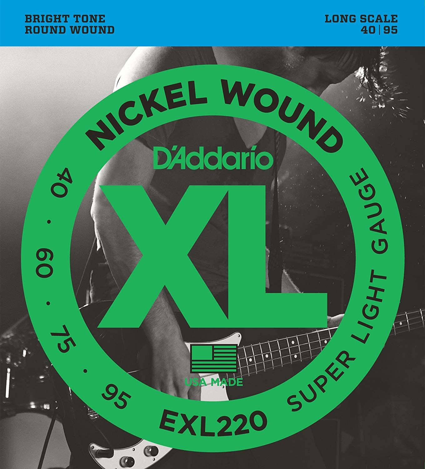 D'addario EXL220 Nickel Wound, Bass Super Light, 40-95, Long Scale-1