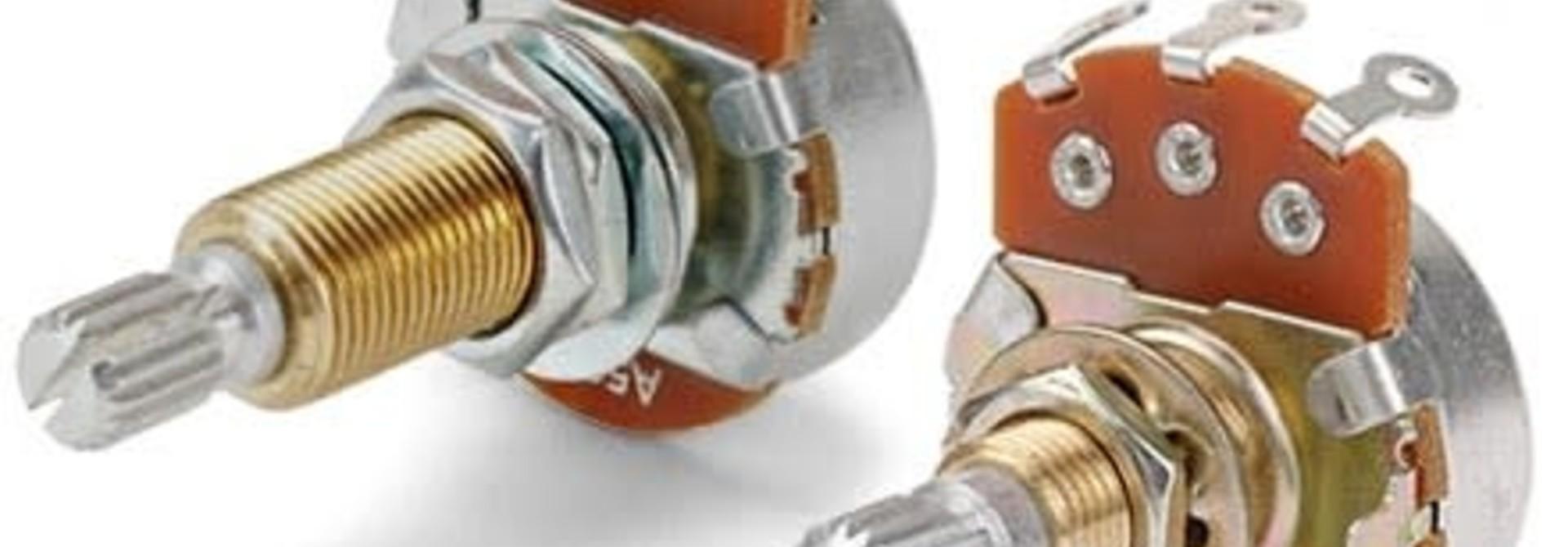 Alpha 500K Long Shaft Pot (brass shaft, split top)