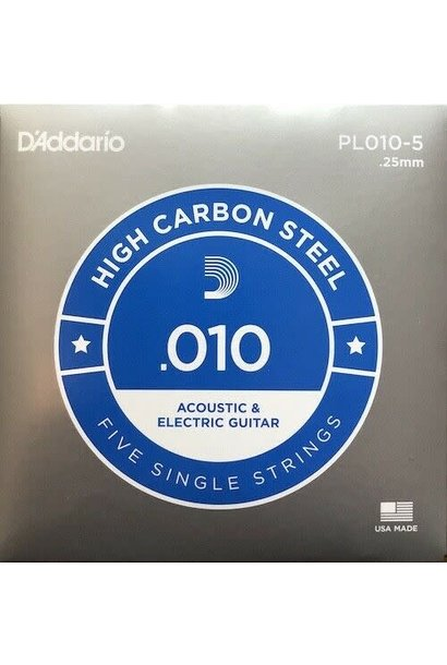 D'addario .010 High Carbon Steel single 5-pack