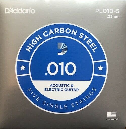 D'addario .010 High Carbon Steel single 5-pack-1