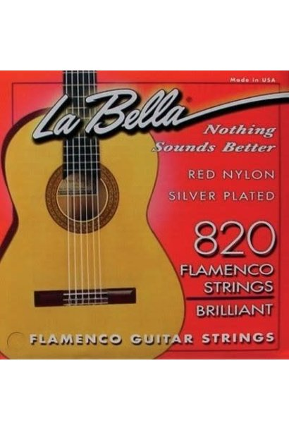 La Bella 820 Red Nylon Silver Plated Flamenco Guitar Strings