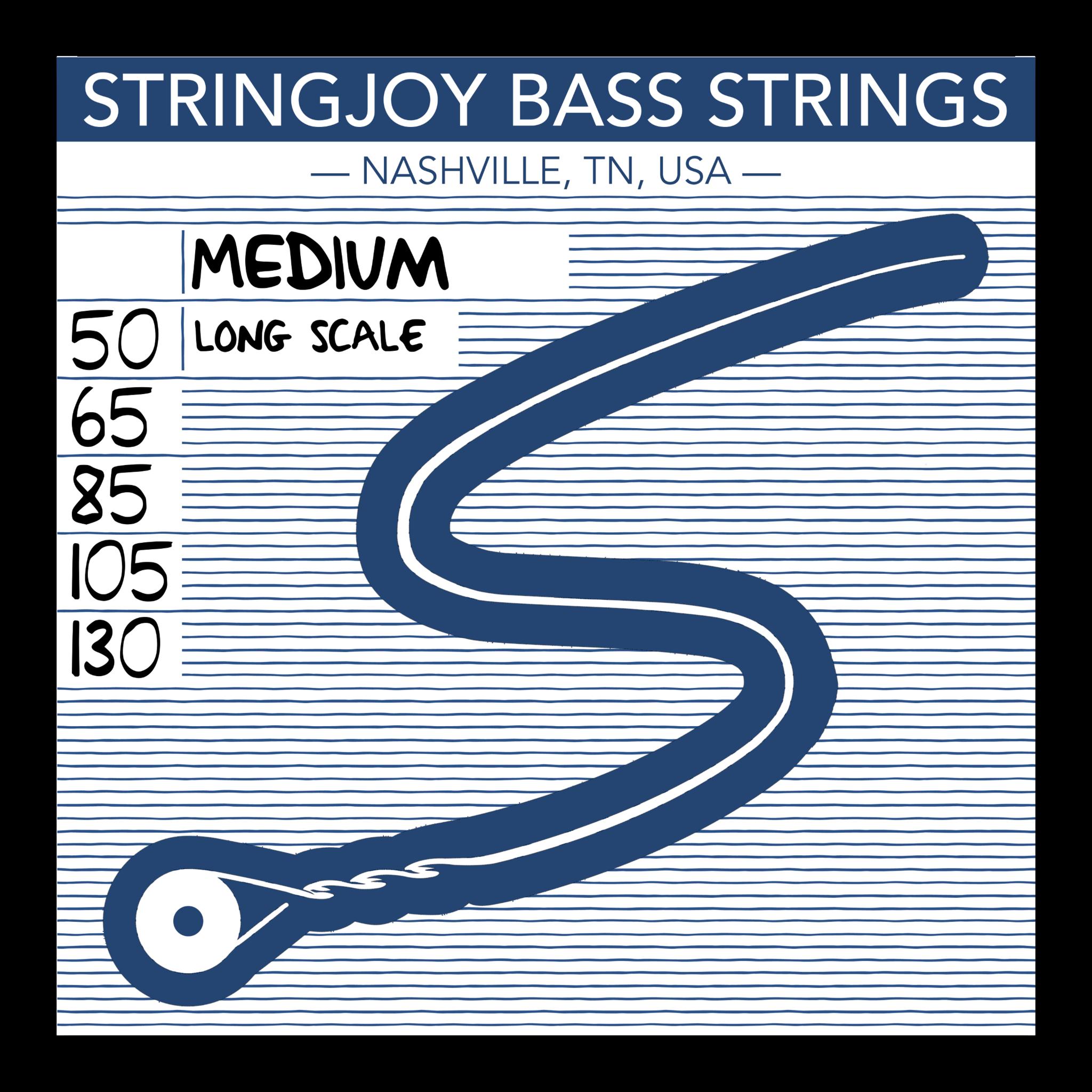 Stringjoy Bass Medium 5-string Bass Strings (50-130) SJ-BA50130-1