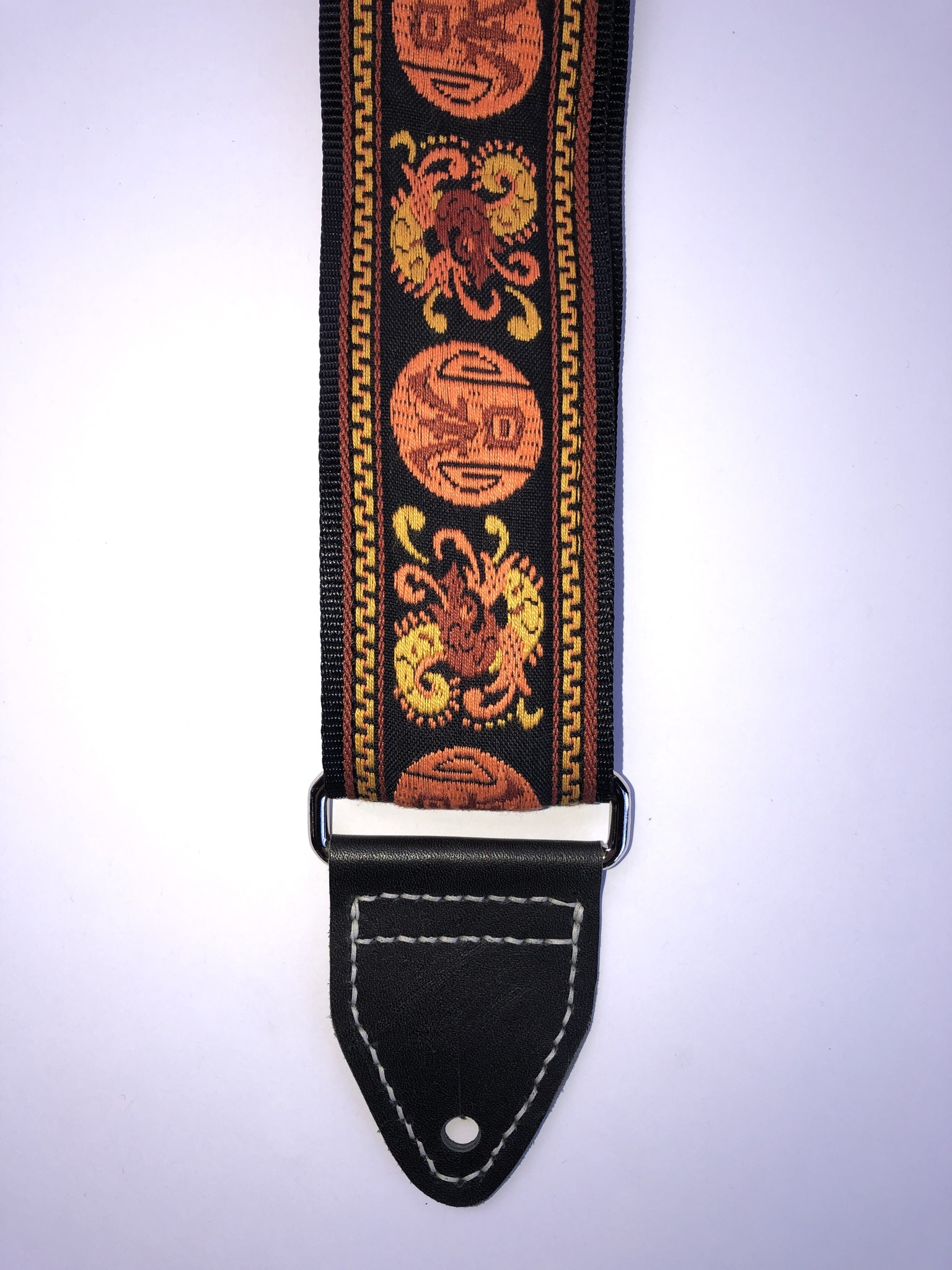 Tremolo Leather Co. Orange Dragon Strap-1