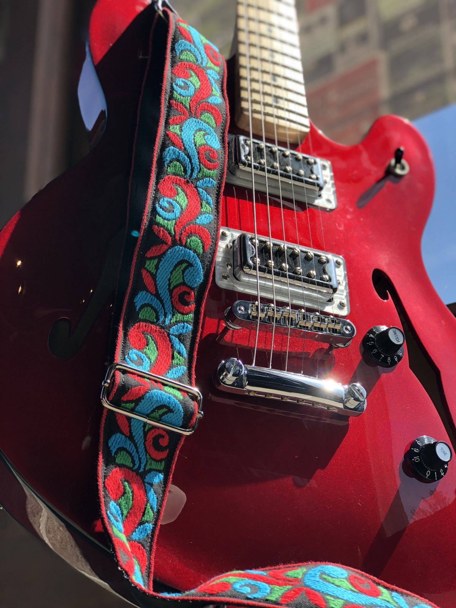 Tremolo Leather Co. Red/Blue Suess Strap-2