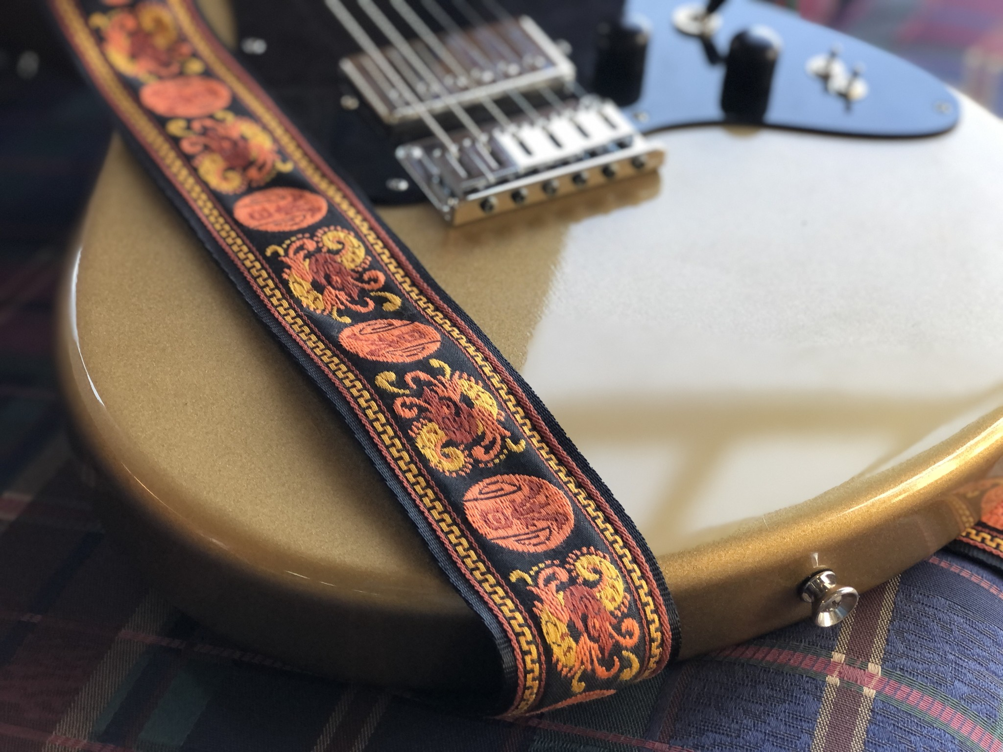 Tremolo Leather Co. Orange Dragon Strap-2