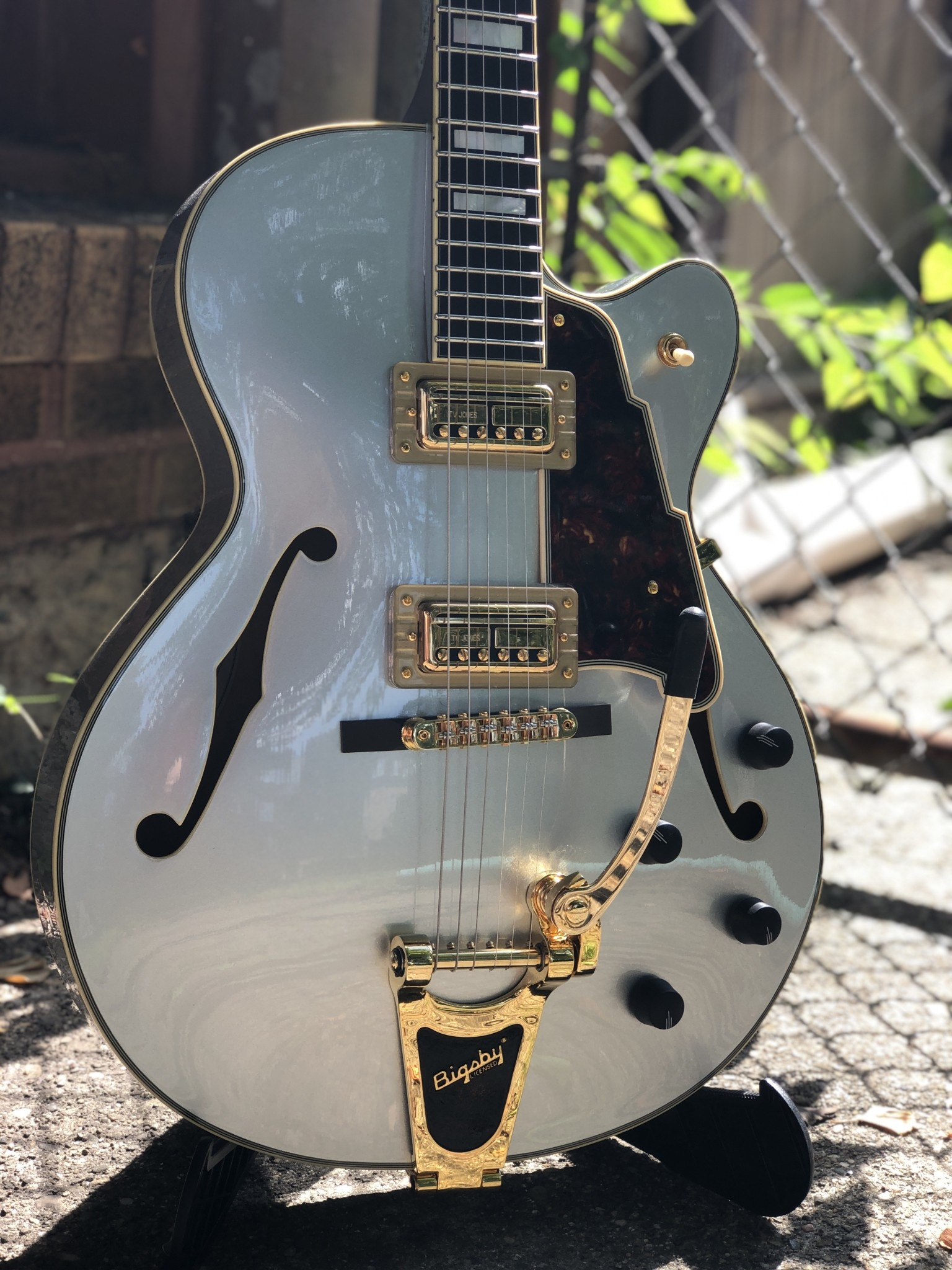 D'Angelico Deluxe DLX-175 Hollowbody - Silver-3