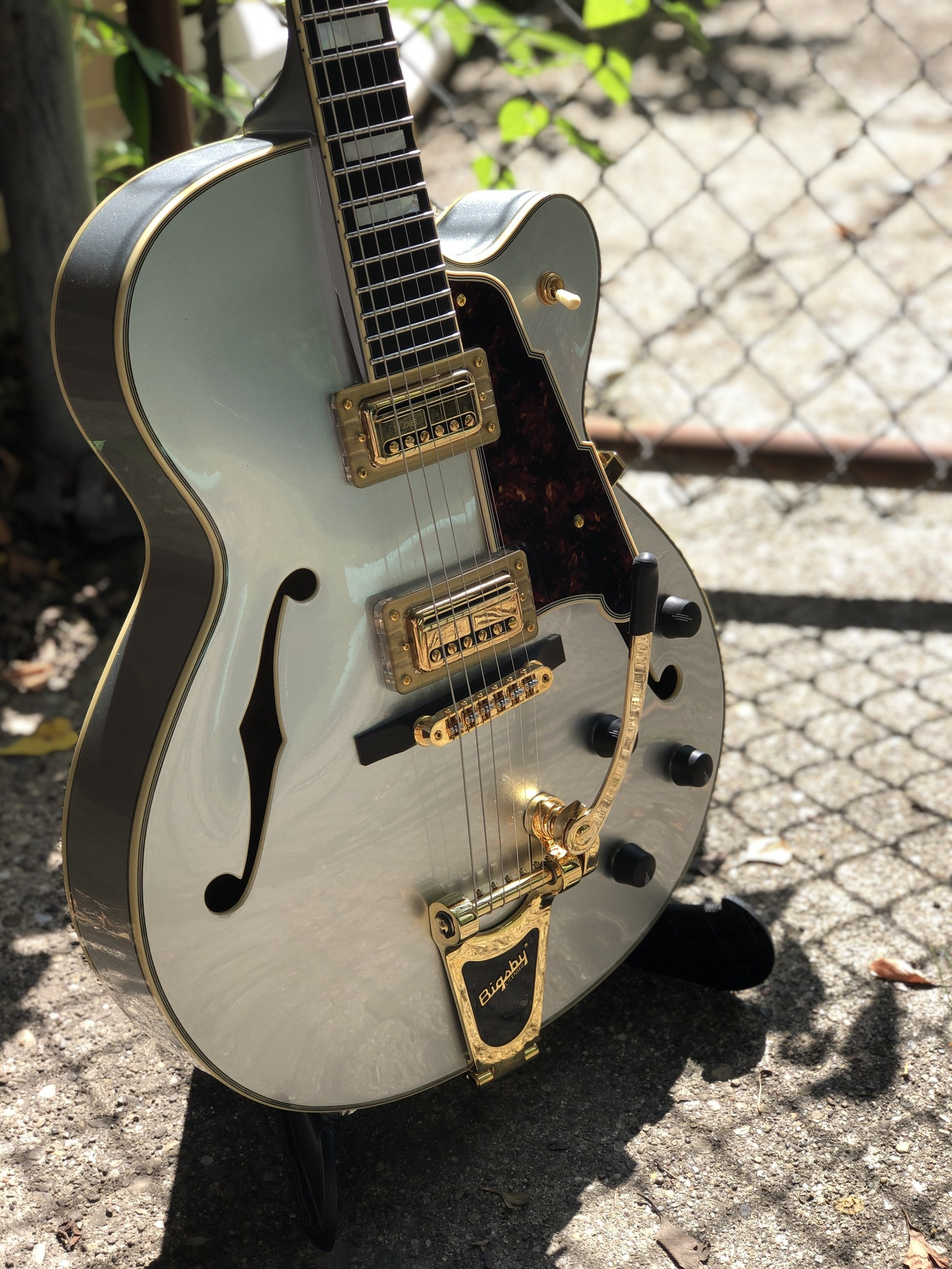 D'Angelico Deluxe DLX-175 Hollowbody - Silver-2