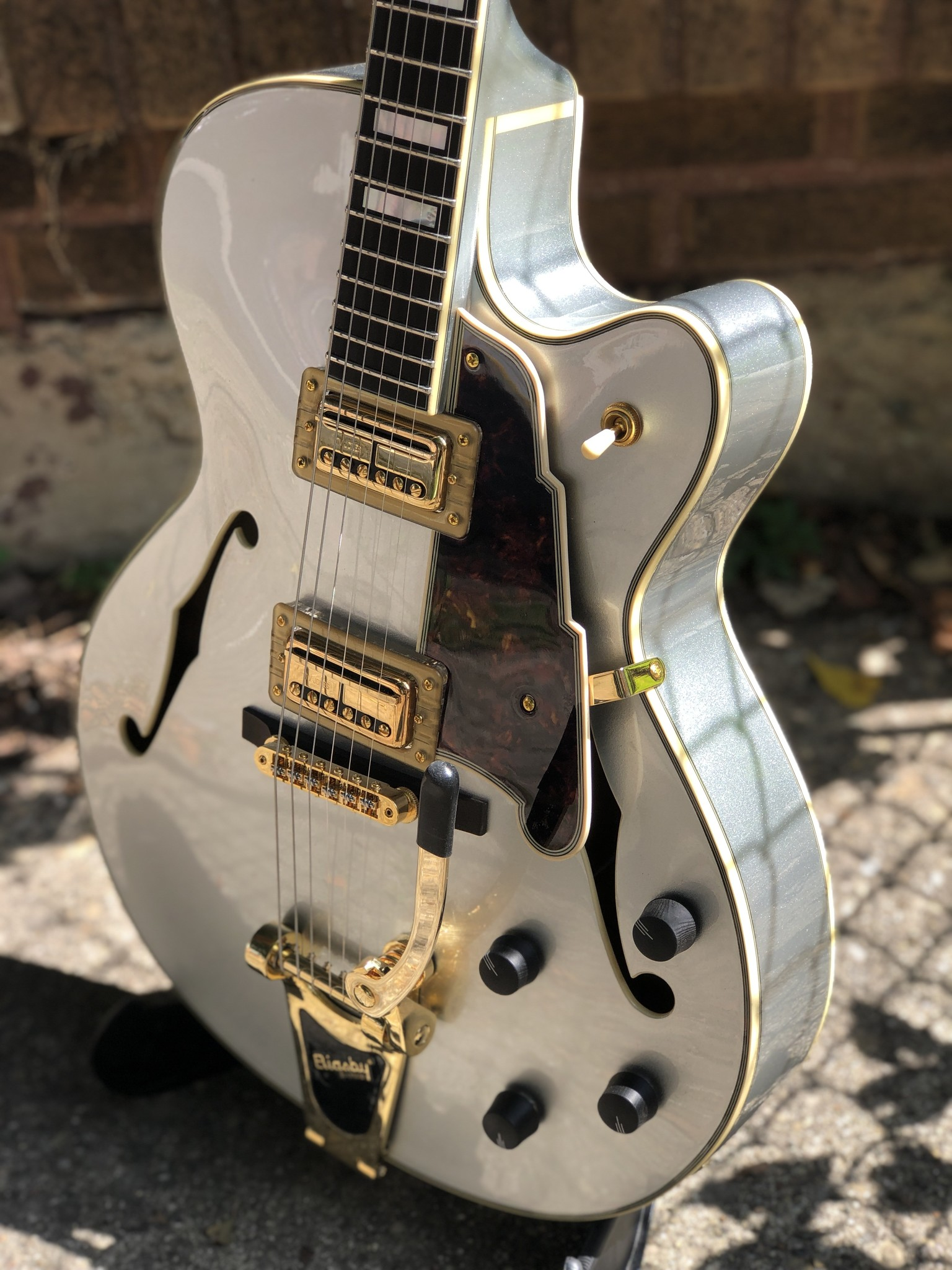D'Angelico Deluxe DLX-175 Hollowbody - Silver-5