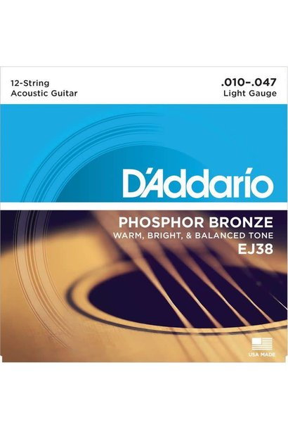 EJ38 Phosphor Bronze 12-String Acoustic Guitar Strings, Light, 10-47