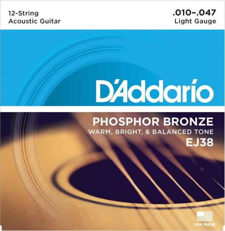 EJ38 Phosphor Bronze 12-String Acoustic Guitar Strings, Light, 10-47-1