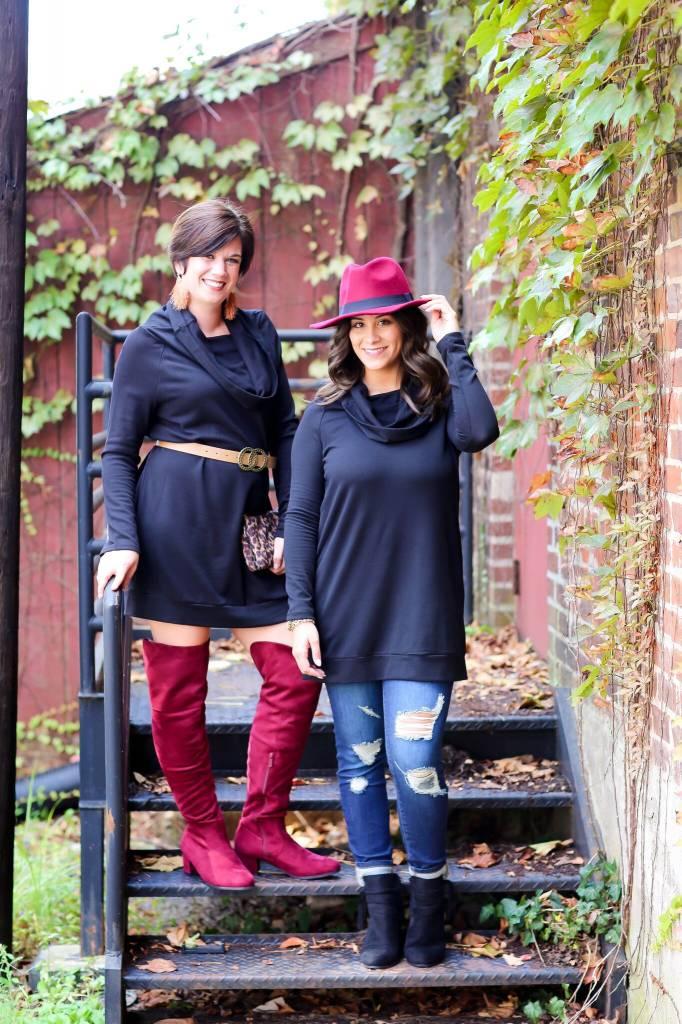 Easel Black Cowl Neck/Off Shoulder Dress