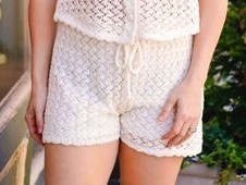 Le Lis Cream Crochet Shorts