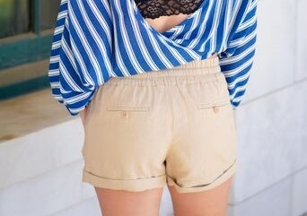 Love Tree Linen Waistband String Tie Shorts