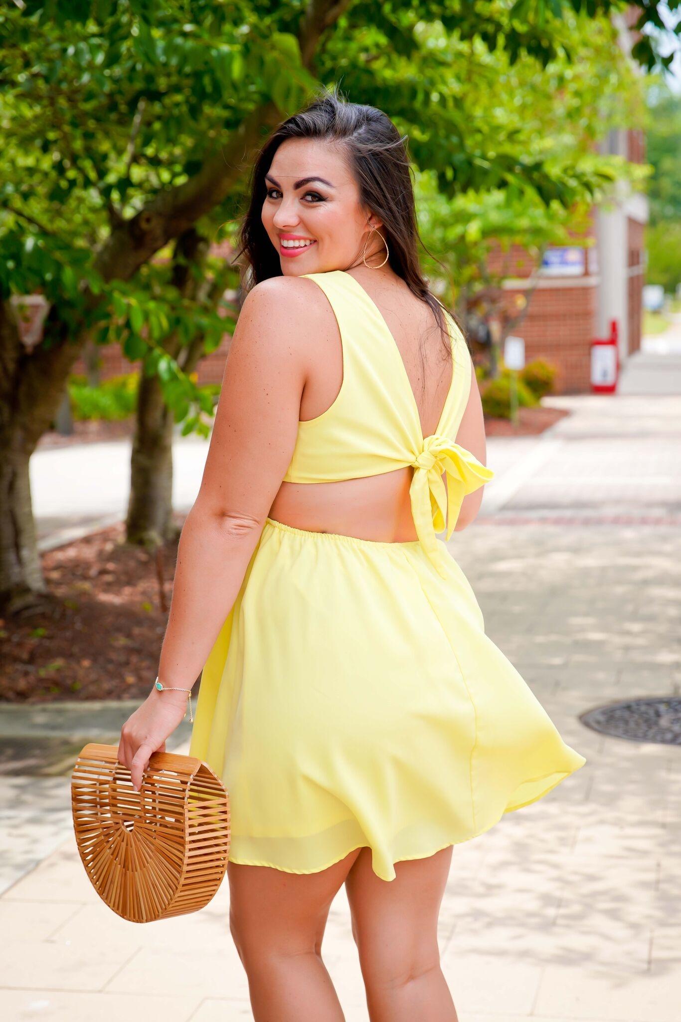 Entro Lemon Yellow Side Cut-Out Dress