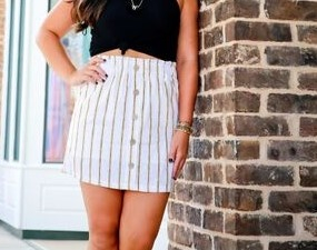 Love Tree Yellow Front Button Skirt
