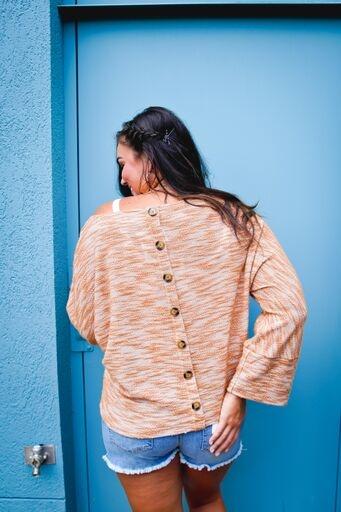 La Miel Camel Slouchy Oversized Button Down Back Top