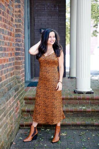 La Miel Leopard Print Satin Midi Dress