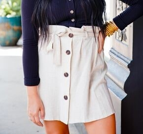 Natural Button Paper Bag Mini Skirt