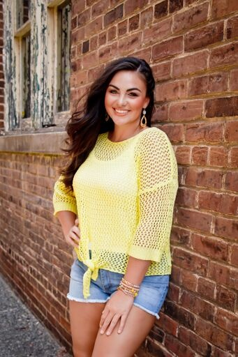 she+sky Lime Fishnet Front Tie Sweater
