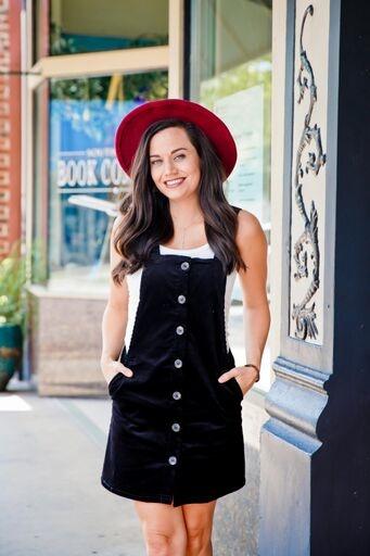Love Tree Black Corduroy Overall Dress