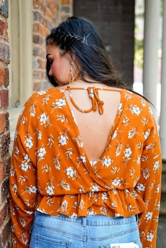 Final Touch Terra Cotta Open Back Floral Top