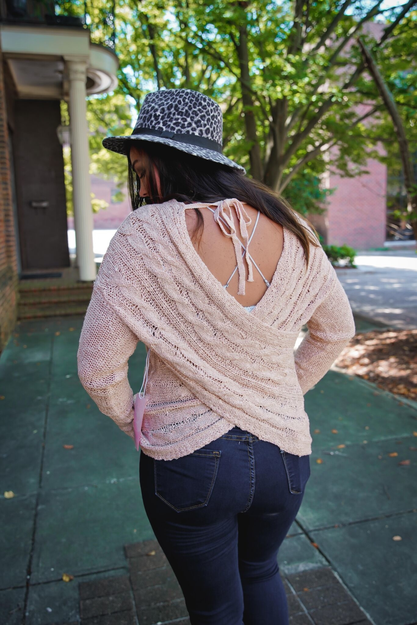 Fashion On Earth Peach Open Back Sweater Top
