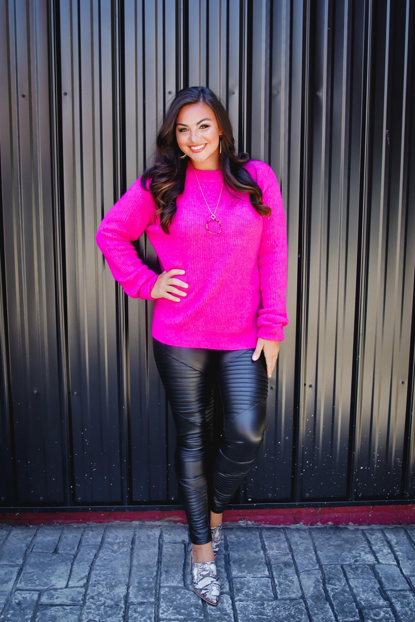Hot Pink Cozy Cutout Back Sweater Top