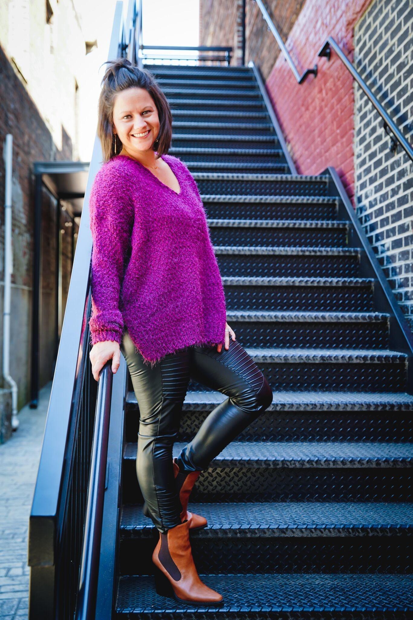 Wine Popcorn Knit Pullover Sweater