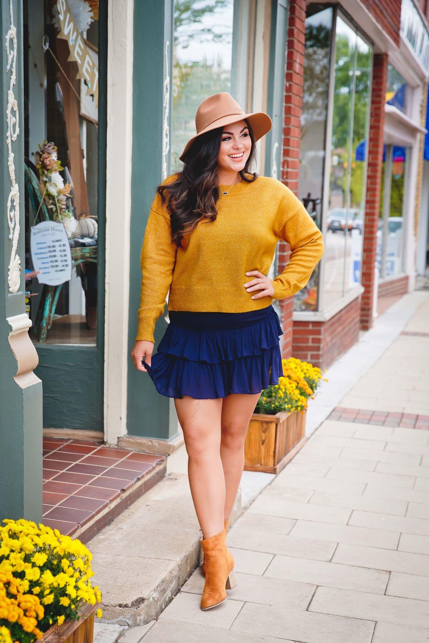 Mustard Basic Crew Neck Sweater