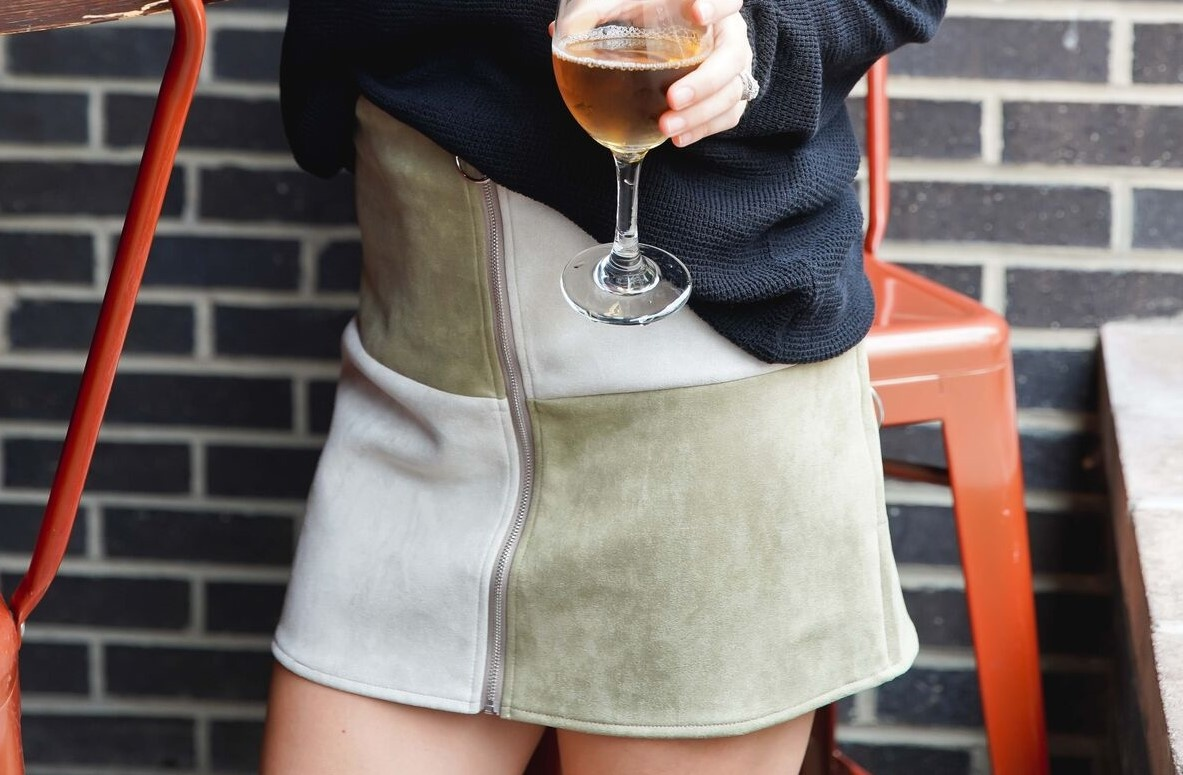 she+sky Light Olive Color Block Suede Mini Skirt