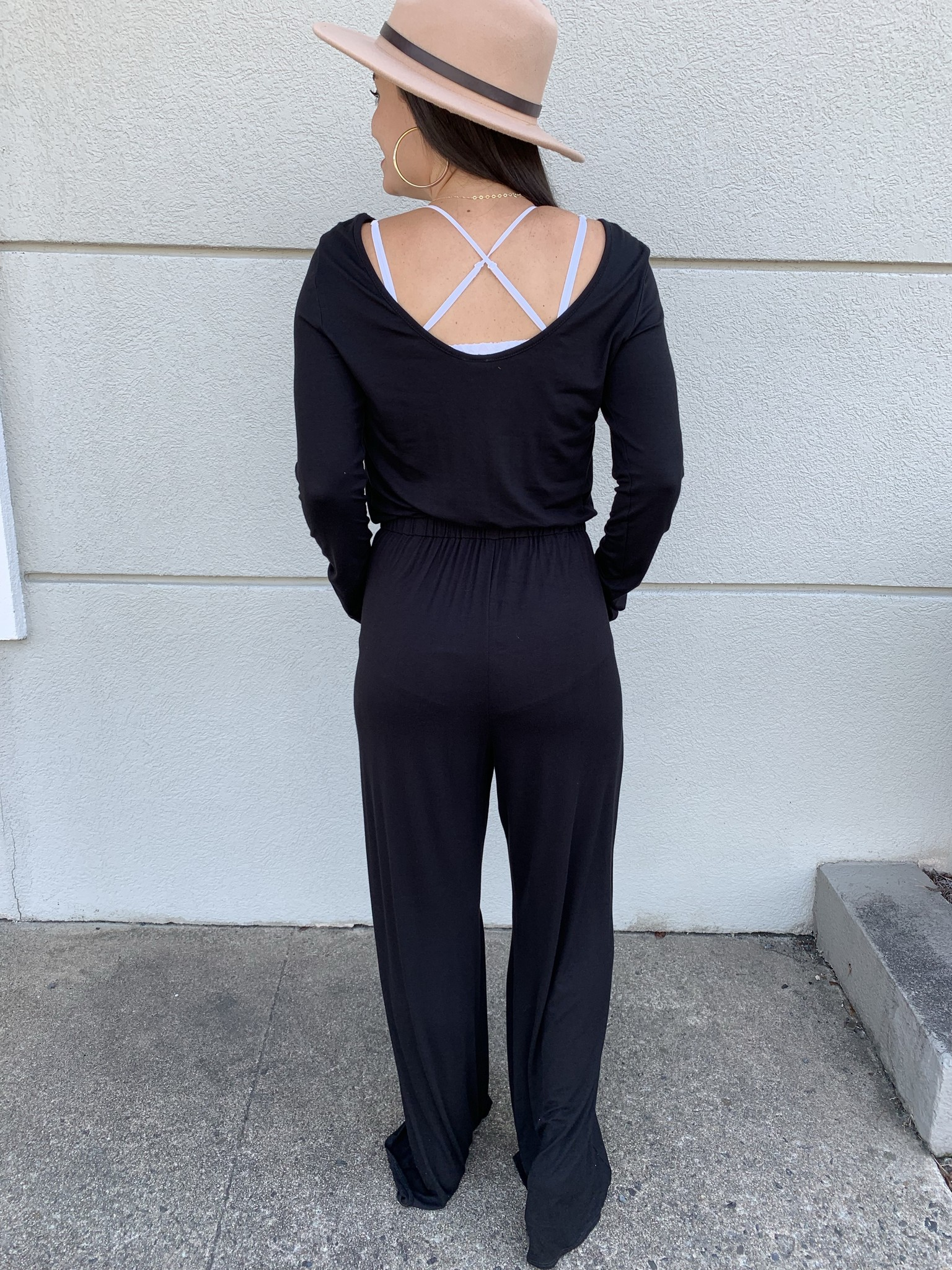 2hearts Long Sleeve Elastic Waist Jumpsuit