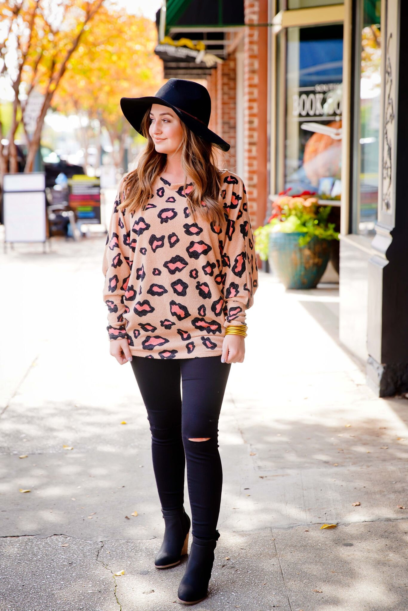 Camel Off Shoulder Leopard Print Top