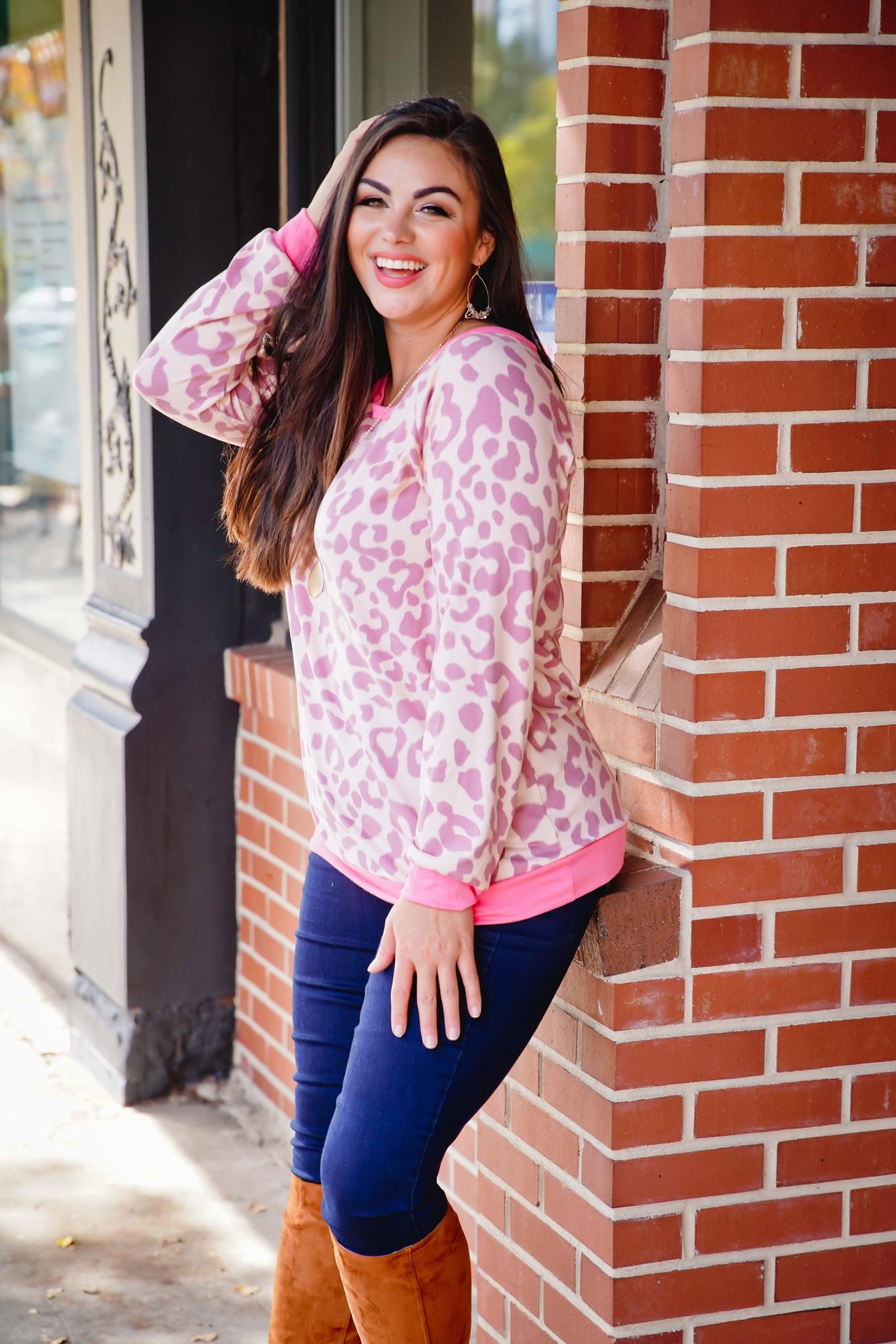 Bibi Mauve/Pink Leopard Print Top