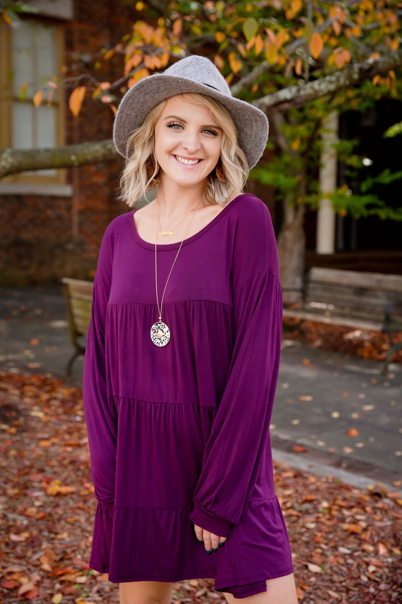 Bibi Plum Tiered Loose Fit Dress