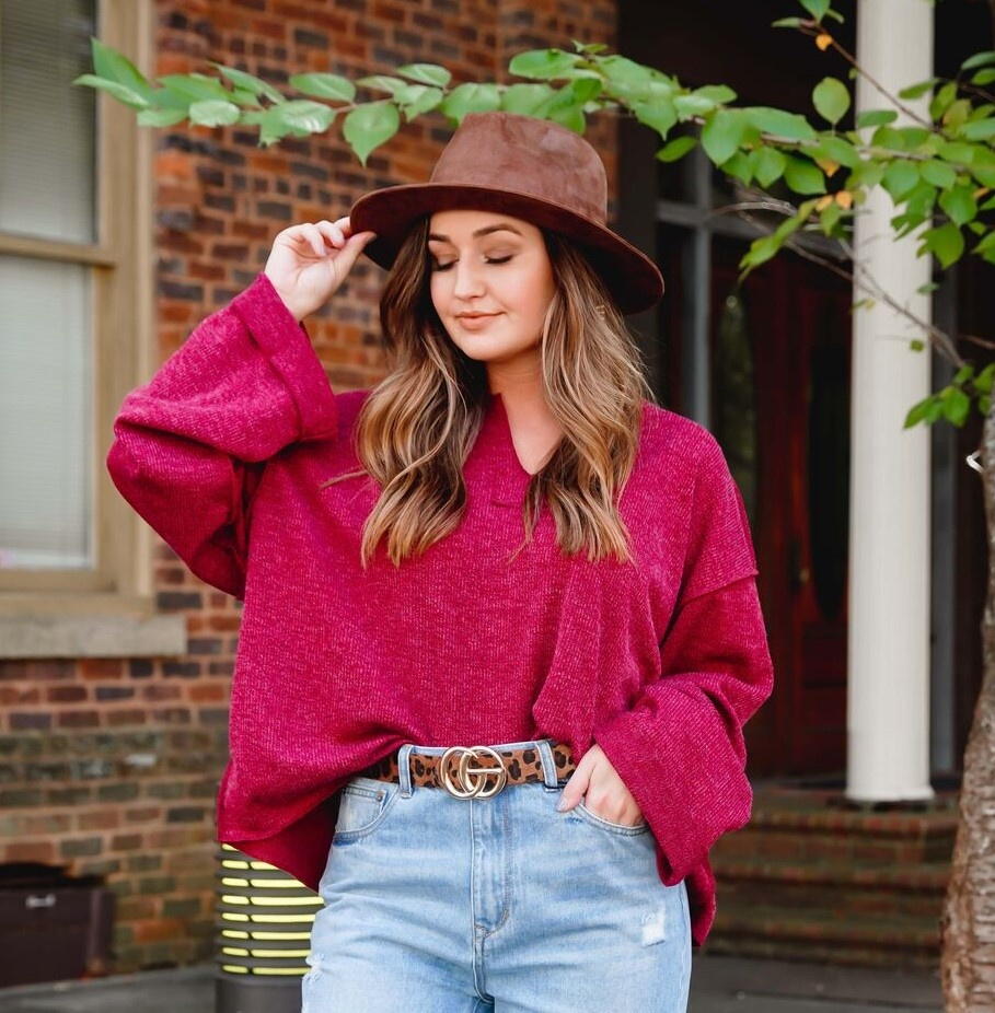 Wine V-Neck Slouchy Top