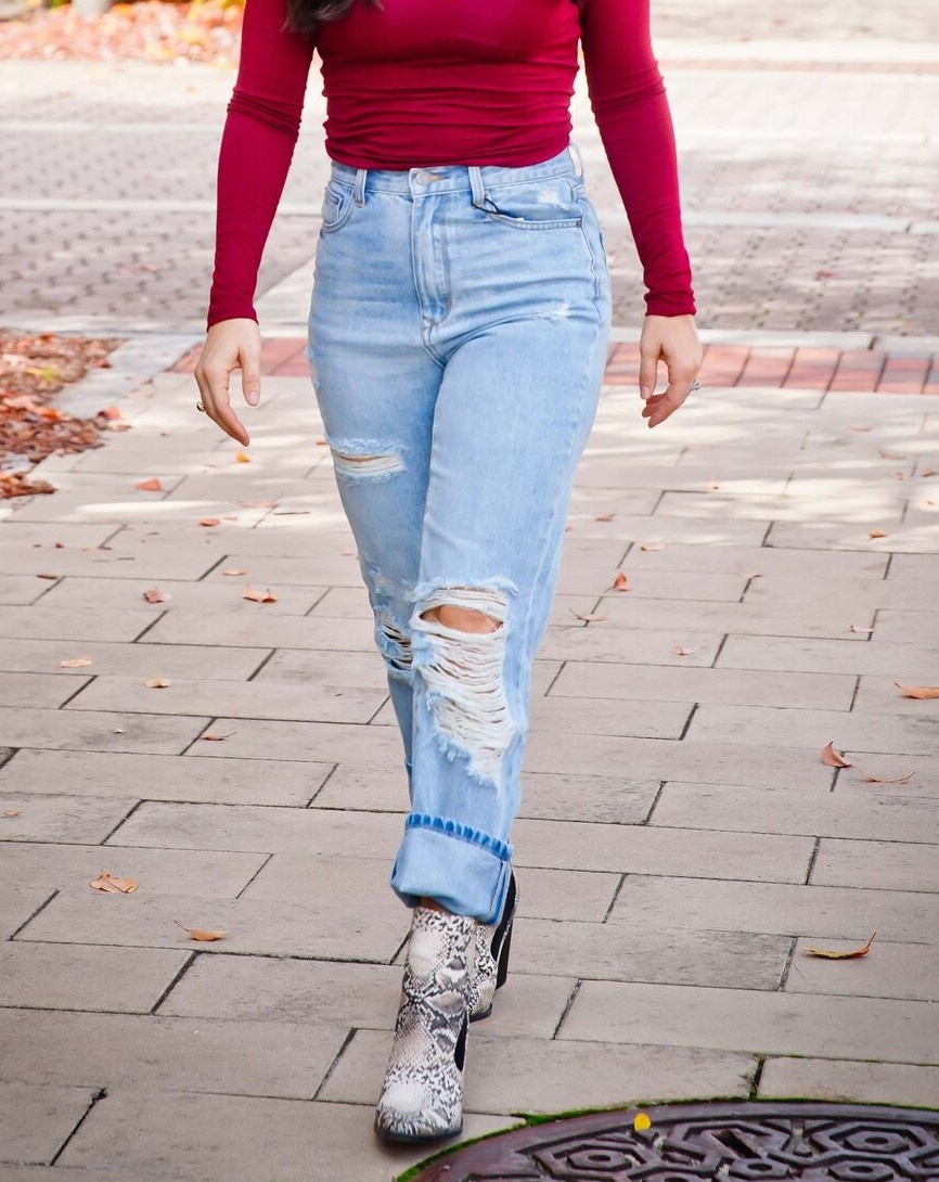 By Together - You & I DIstressed High Waisted Boyfriend Jean