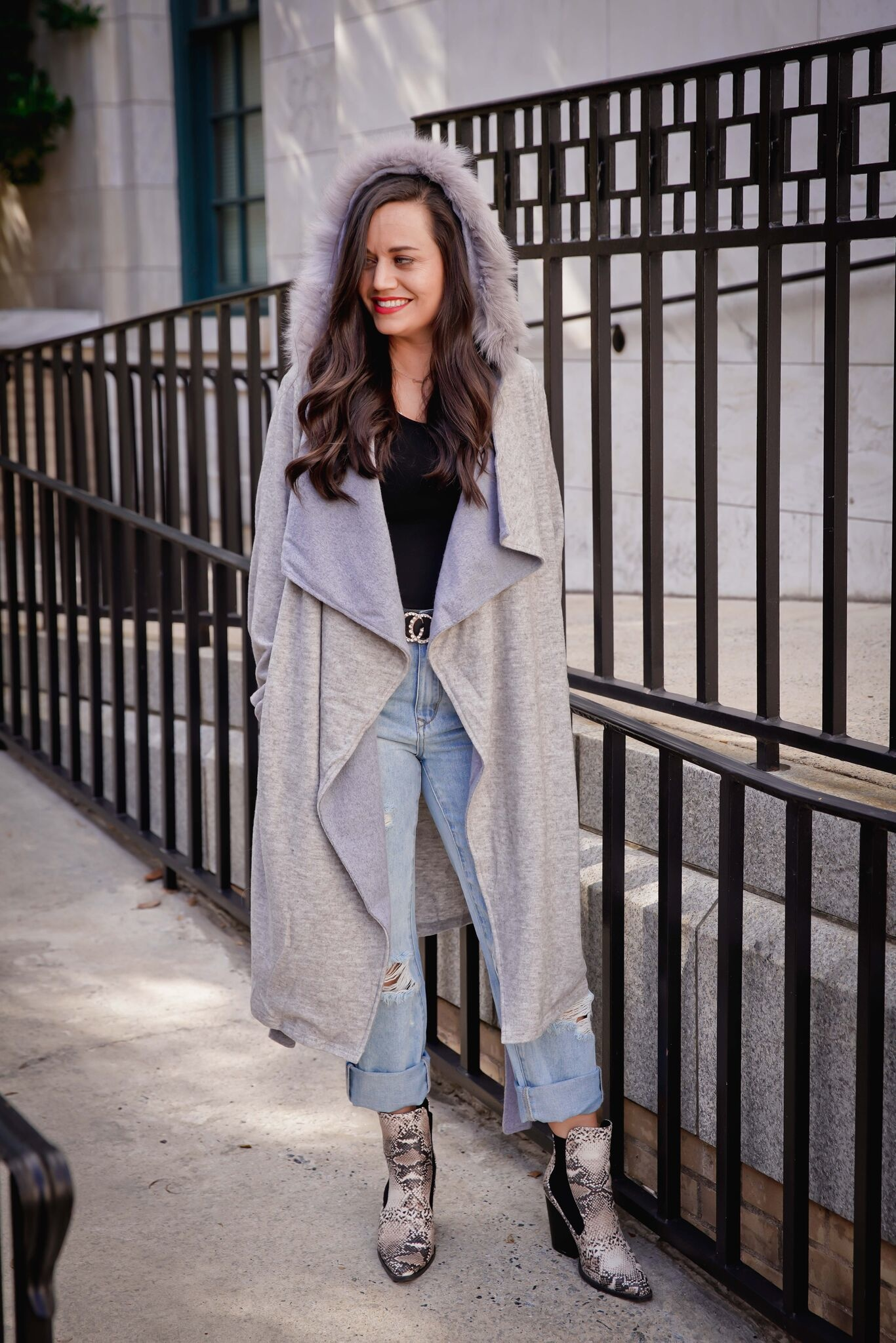 Doe And Rae Grey/Misty Blue Color Block Coat