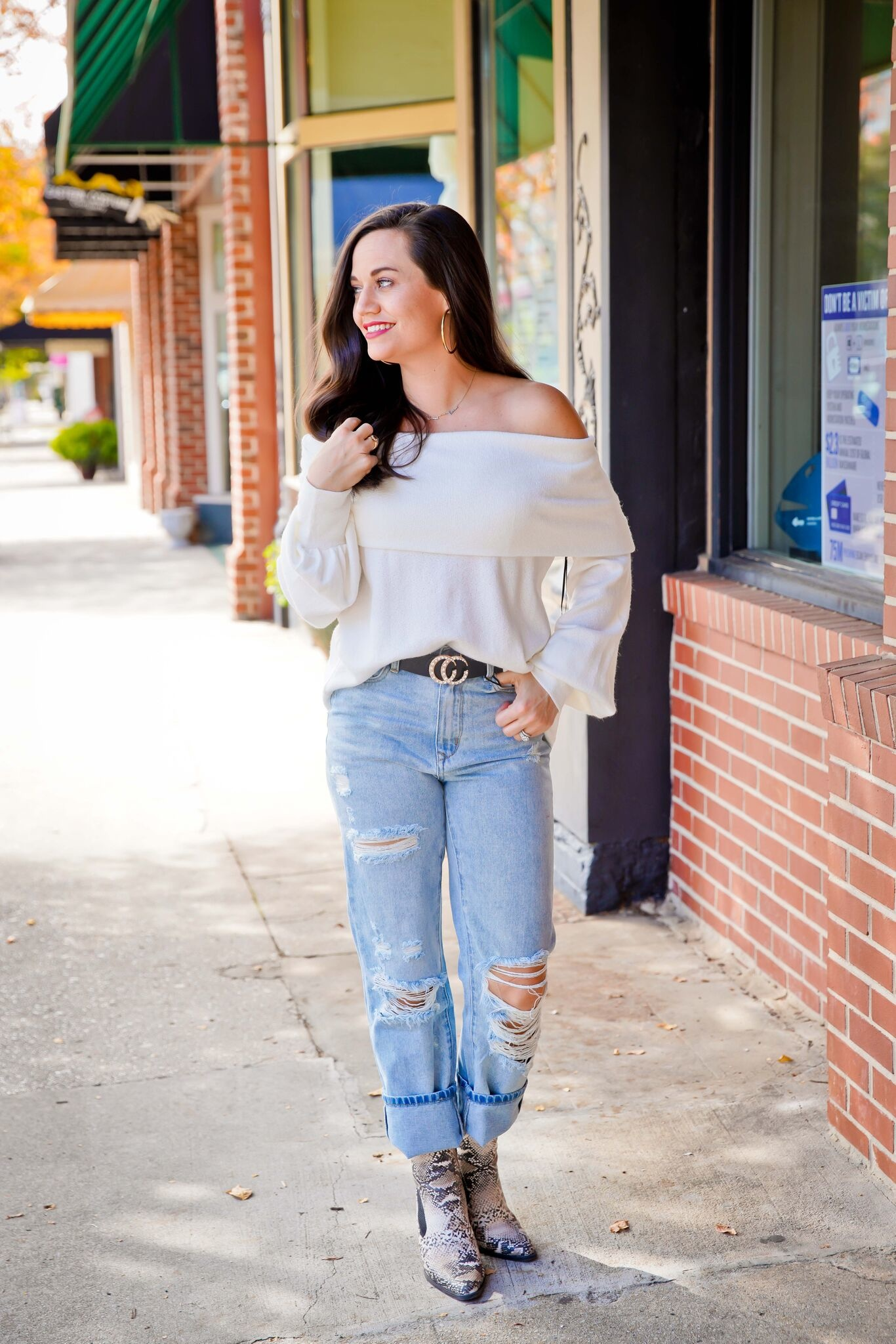 Doe And Rae Off Shoulder Sweater w/ Puff Sleeve
