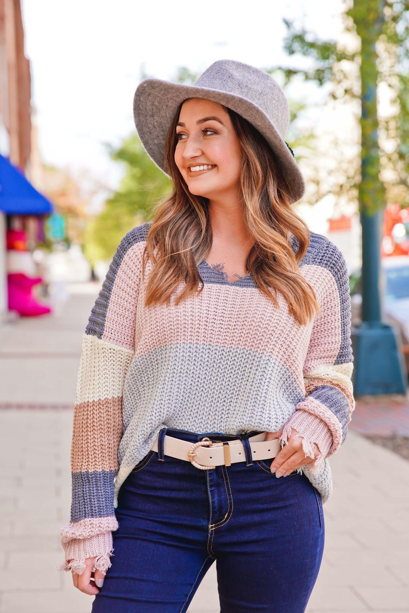Entro Color Block Raw Hem Sweater