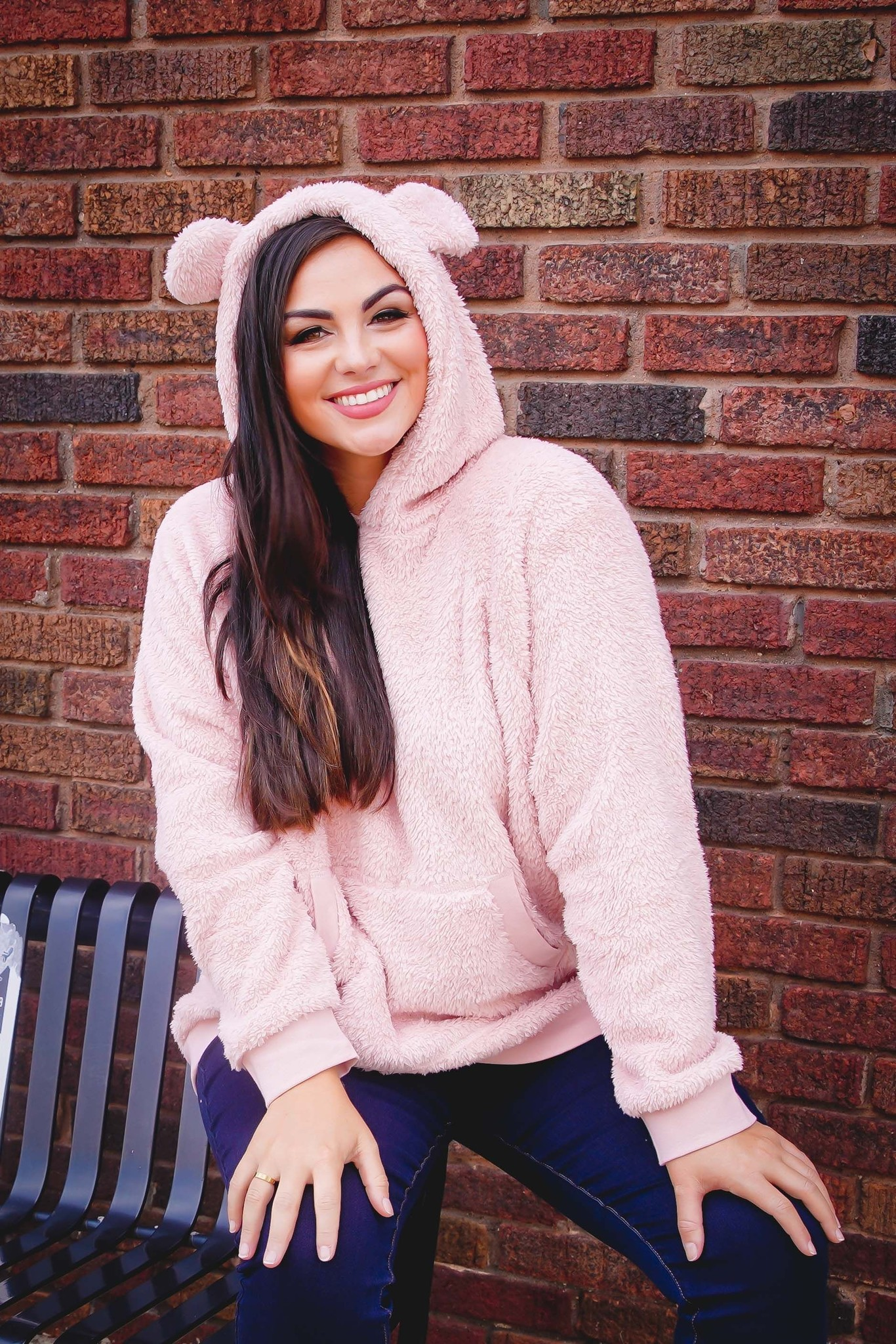 Doe And Rae Dusty Pink Sherpa Pullover
